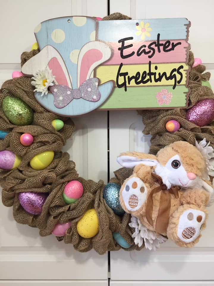 Decadent Designs Decor Sudbury Ontario Easter Greetings to You Burlap Wreath Home Decor