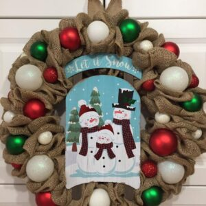Decadent Designs Decor Sudbury Ontario Let it Snow Burlap Christmas Winter Wreath Home Decor